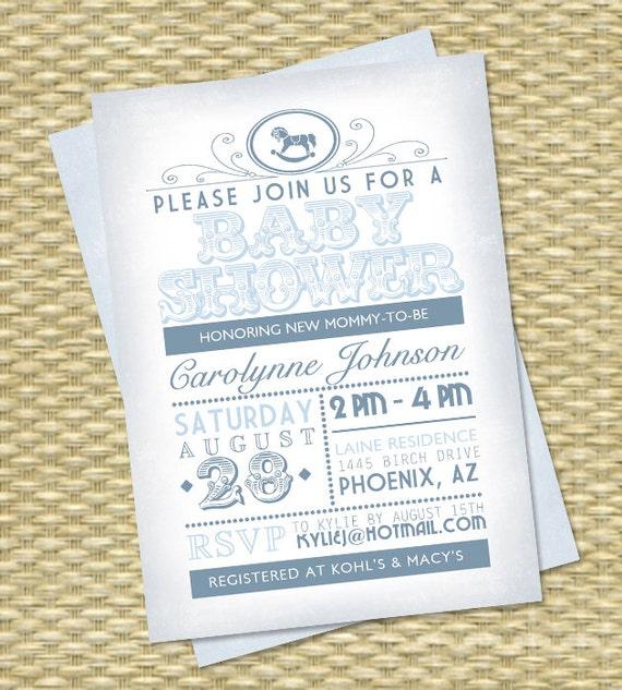 Vintage typography poster baby shower invitation baby boy shower il570xn filmwisefo