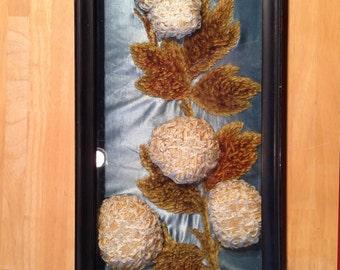 Vintage Boudoir 3-D Flower Art Shadowbox, Fabric Asemblage, Floral Arrangement in Silk, Satin, Velvet and Crochet