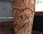 Birch Vase-rustic vase-personalize vase-custom-monogram vase-bark vase-wood-vase-wood vase-birch-rustic-wedding-bridal-decor-wedding