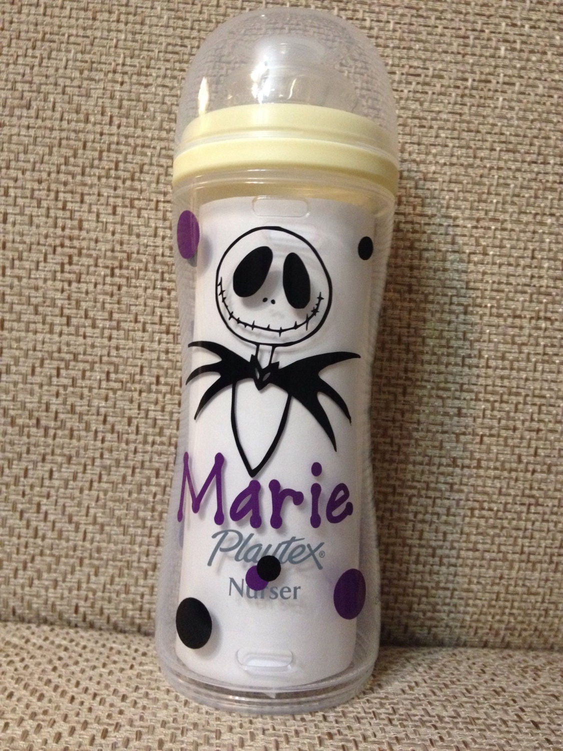 Personalized Jack Skellington Inspired Baby Bottle. Playtex~Avent~Dr.  Brown~Vent Aire