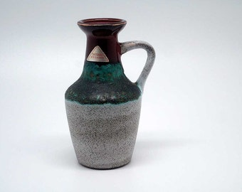 Handled fat lava vase by Strehla VEB