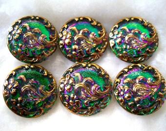 Czech Glass Buttons   6 pcs   Gorgeous 24K gold    22mm     IVA 095