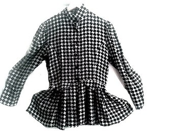 80s french Blouse Peplum blk & white