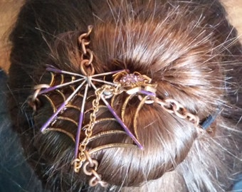 Steampunk Spooky Spider Bun Cover Hair Accessory