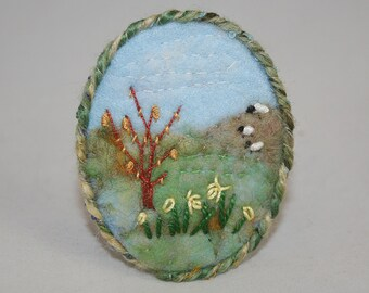 Springtime Hillside Felted and Embroidered Brooch - hand-stitched by Lynwoodcrafts