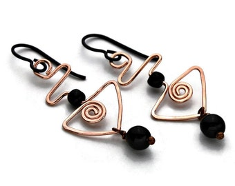 Triangular Copper Earrings with Black Beads