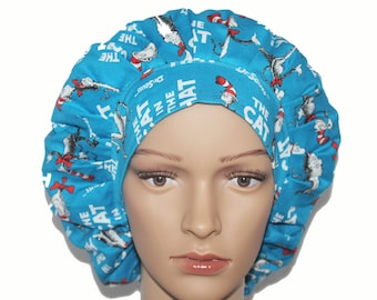 Bouffant Scrub Hat with ties - Dr Seuss Theme Bouffant scrub hat - Ponytail Scrub hat - Custom Scrub Hat - Personalized Scrub hat