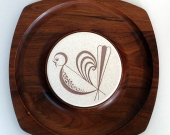 Fancy Bird Cheese Platter and Tile