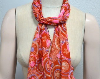 Vintage Scarf, Women's Scarf, Long Scarf, Brown, Pink, and Purple Sheer Scarf, 70's Scarf