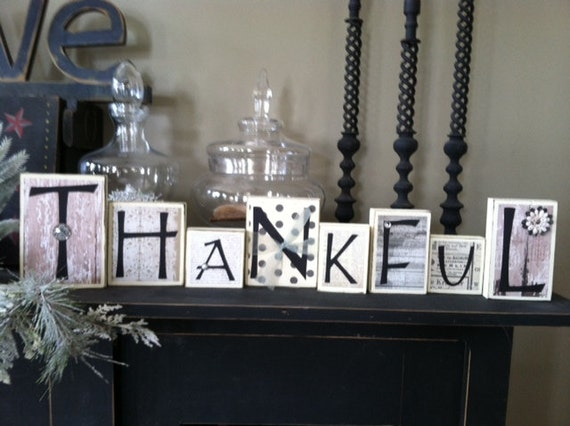 items similar to thankful home decor wood word blocks word blocks word letter blocks family block letters home decor