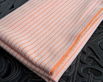 Retro Fabric, Polyester, Orange with White Stripe Design, Perfect Condition