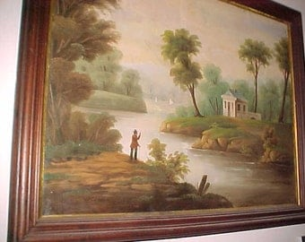 Early 1800's original Hudson River oil on canvas RARE
