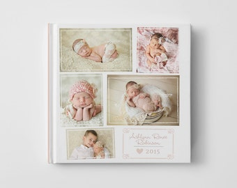 Photo Book Cover Template for Photographers, Baby Book Templates for Girls, Baby Photo Book Cover Template, Newborn Templates - BC109