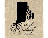 Rhode Island Roots Unframed Wall Art, Burlap Home Decor, Burlap Art, Wall Art, Burlap, State Roots