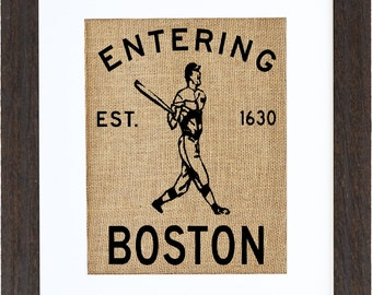 Entering Boston Burlap Wall Art, Boston Wall Art, Massachusetts, Burlap Art, Frame Included