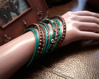 Copper and Turquoise Bangles