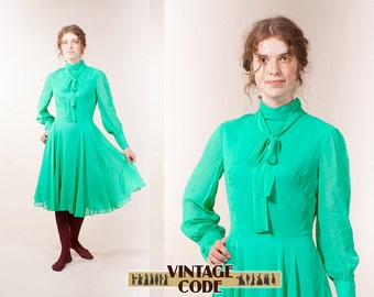 Electric green Electric blue long sleeve dress / West German high fashion haute couture dress by Uli Richter / size  small to medium