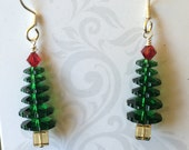 Swarovski Tall Pine Christmas Tree Earrings with Sterling Silver Wires