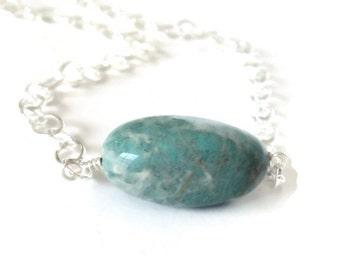 Amazonite Necklace, Blue Stone Necklace, Amazonite Pendant Necklace, Blue Pendant Necklace, Natural Stone Jewelry, Single Stone Necklace