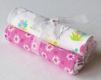 Baby Girl - Sweet Elephant/Pink Chevron - Riley Blake - Flannel Burp Cloths
