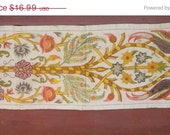 SPRING SALE II vintage 60's embroidered linen table runner, buffet textile with wool embroidery, peacocks, ferns, vines, flowers