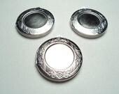 3 pcs - Satin matte white plated round 30mm brass lockets with setting -  m205smw