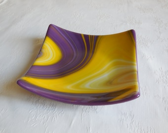 Purple and Yellow Fused Glass Dish