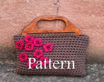 Ladies crochet clutch purse with little blooms - PDF crochet pattern - Listing87