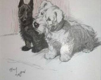 Terrier print Signed mounted 1930 Cecil Aldin Sealyham & Scottish terrier dog plate print Unique Christmas Thanksgiving Birthday gift