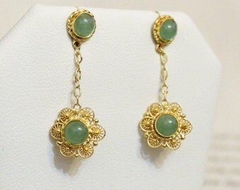 Vintage Chinese  Silver Filigree Jade Earrings with Gold Wash
