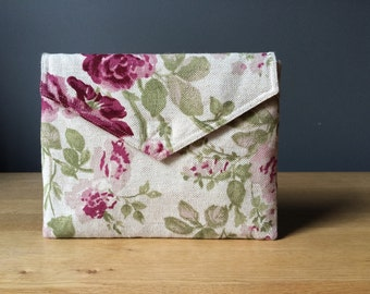 """iPad sleeve, tablet case, floral pattern, eco friendly, roses - """"blossom ENVELOPE"""""""