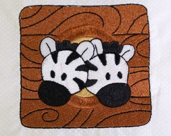 Noah's Ark Zebras Embroidered Quilt Block by Amy