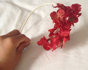 Red floral flower hydrangea hairpiece headband hair crown spring bridal fascinator
