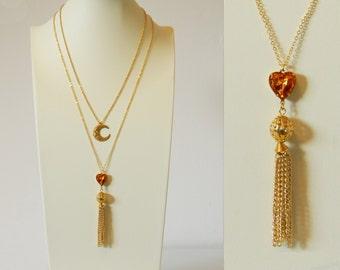 50% off Sale - Topaz Heart Tassel Necklace