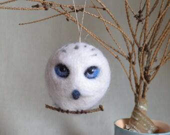 Christmas Owl Holiday Ornament Wool Needle Felt Decoration Woodland Tree Waldorf Bird Home Decor