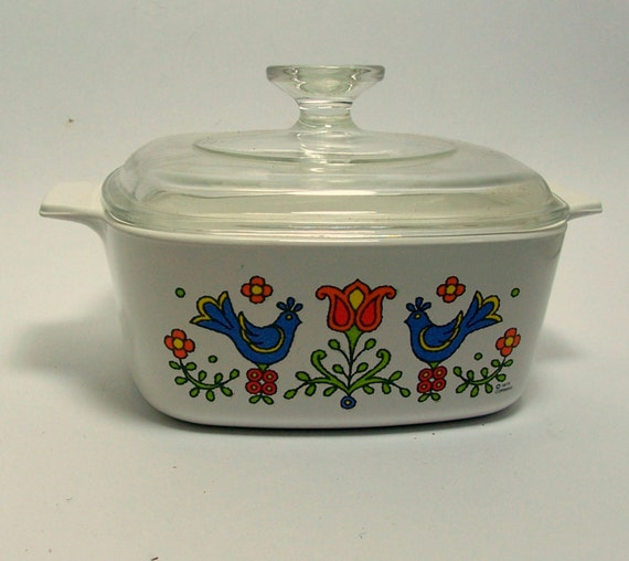 country kitchen ware corning ware pyrex country festival friendship white blue 2925
