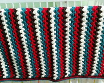 Granny stripes crochet blanket