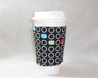 Slip-On Coffee Cozy Made With Pac Man Fabric