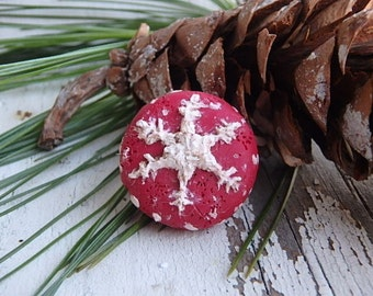 Dark Red Snowflakes- polymer clay winter charms *ONE* rustic  winter ornaments. OOAK. handsculpted snowflake pendants. Jettabugjewelry