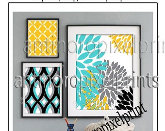 Floral Damask Golden Yellow Aqua PMS 319 Grey Art Wall Gallery   -Set of (3) -  Prints -  11x14, 8x10, 5x7, (UNFRAMED)