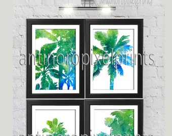Watercolor California Tropical Palm Tree Collage Prints, Set of (4) 5x7 Wall Art Prints , Custom Colors Sizes Available (Unframed)