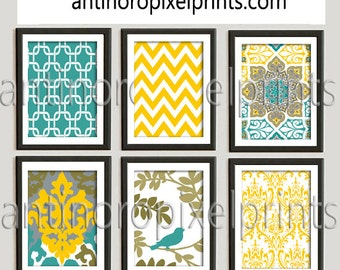 Teal Mustard Yellow A3 Ikat Pictures, Set of (6) Wall Art Prints, Custom Colors Sizes Available, Custom Colors Available