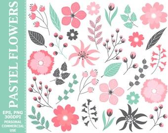 50% OFF SALE Digital Pastel Pink Floral Clip Art - Leaves, Flowers, Wedding, Pastel, Blossoms Clip Art