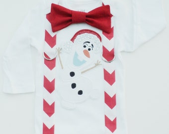 Christmas Frozen Olaf Inspired Bow Tie T  Shirt With Suspenders  Size, 6-12mo, 12-18mo, 18-24mo, 2t, 3t, 4t, 5/6, 7/8