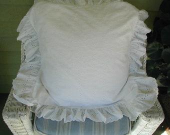 "Vintage White Eyelet Pillow Shams, Continental Size or European Size, 27 x 27"" Wiith Ruffles"
