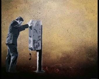 Better Call Saul painting - 16x20 -  stencil,  graffiti, street art style Saul Goodman aka Jimmy McGill -  large