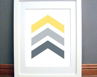 Yellow Grey Chevron Arrows, Chevron Wall Art, Chevron Wall Print, Yellow, Charcoal Grey Art, Yello Wall Art, Printable PDF, Instant Download