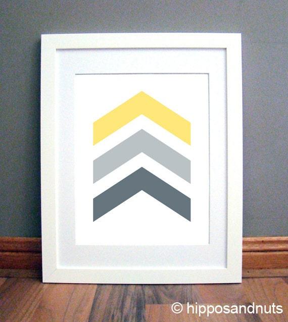 Grey Arrow Wall Decor : Yellow grey chevron arrows wall art