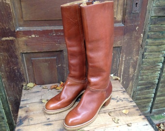 Vintage 60s 70s Cognac Brown Leather Knee High Campus Riding Commuting Boots