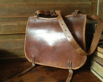 Brown Leather Belted Purse Bag, Swiss Army Military Dispatch Messenger Satchel, Chestnut Handcrafted Artisan Belted Briefcase Crossbody
